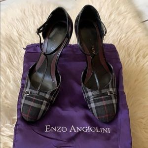 plaid heels with ankle strap